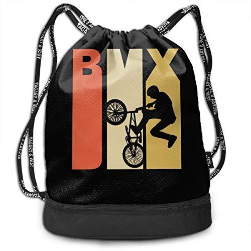 BMX-Silhouette-Rucksack im Retro-Stil der 1970er Jahre für Herren und Damen aus 100% Polyester (1970er Jahren Kleidung Für Frauen)