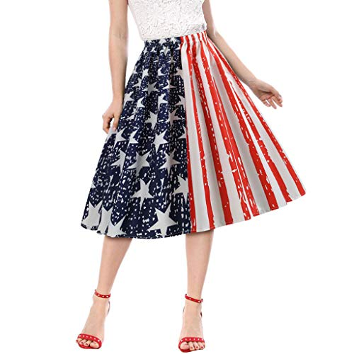 Cooljun amerikanische flagge t-shirts frauen mode amerikanische flagge drucken abend party prom schaukel gummiband rock (Jean Röcke Junioren)