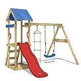 WICKEY Spielturm TinyCabin Kletterturm Spielplatz mit Schaukel und Rutsche, Sandkasten und Strickleiter, rote Rutsche + blaue Plane