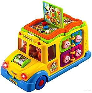 Farraige® Exclusive Intellectual Musical School Bus, Learning Educational School Bus Toys for Baby & Toddler, Electronic Car with Lights for 1 2 3 Year Old Boys and Girls