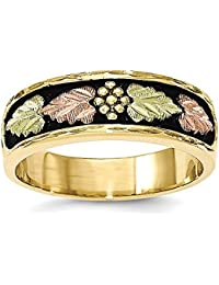 10k Tri-Farbe Black Hills Gold Herren Antiqued Ring