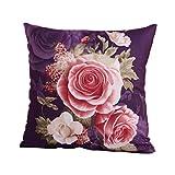 WINOMO Kissenhülle 45 x 45 cm Pfingstrose Dekokissen Sofa Wohnzimmer Schlafzimmer Blumen Kissen Bezüge mit Reißverschluss (Lila)