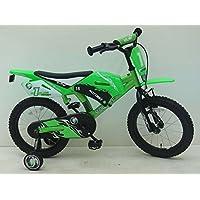 bicicletta bambino moto cross 16 pollici ruotine verde