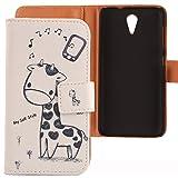Lankashi PU Flip Leder Tasche Hülle Case Cover Schutz Handy Etui Skin Für HTC Desire 620 620G / 820 Mini Giraffe Design
