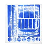 JCstarrie Reflector Stickers -21 Pcs Cintas Adhesivas Reflectantes Tiras Calcomanías Visibilidad Nocturna y Seguridad para Cascos Bicicleta, Coche, Moto, Cochecitos (Azul)