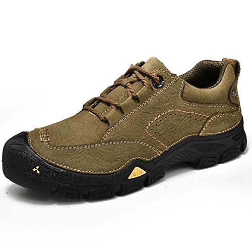 Scarpe da escursione all'aperto da uomo scarpe da ginnastica antisdrucciolevole in pelle vera e propria Khaki
