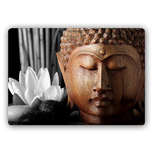 Feeby Metallbild Buddha Bild Kunstdrucke Poster Steine Braun 70x50 cm