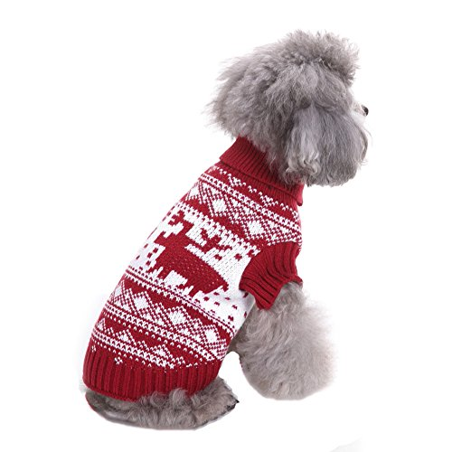 AAA226 Haustier Welpen Weihnachten Rentier Geometrische Pullover Kleine Hund Kleidung Bekleidung - (Kostüme Rentier Stellen)