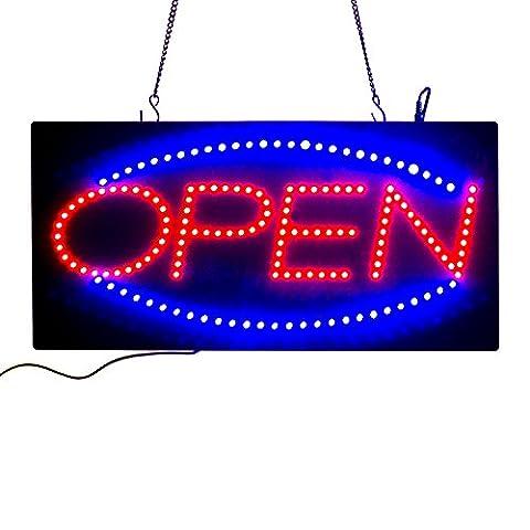 Leadleds animés Mouvement LED ouvert Sign Board, Rouge et Bleu LED Lumineux avec 2modèles–Taille 48,3x 24,1x 2,5cm avec chaîne en