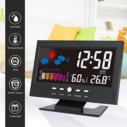 wiFndTu Orologio da Parete, Sveglia Orologio Digitale a Colori LCD retroilluminato Termometro Igrometro Stazione meteorologica
