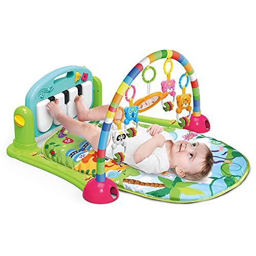 HshDUti Baby Cartoon Wiege Spielzeug, Fitness Frame Fuß Klavier, Musik Decke krabbeln Matte Green - Frame Green Matte