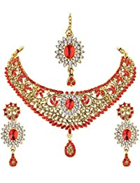 Spargz New Indian Bollywood Style Gold Plated Red AD Stone Fashion Bridal Jewellery Necklace Set For Women AINS...