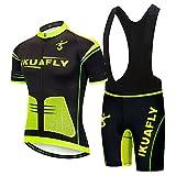 IKUAFLY Maglia Ciclismo, Abbigliamento Ciclismo Set Sportivo Professionale 3D Gel Pad per Uomo, M