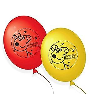 Peppa Pig 203790 - Globos Decorativos, 10 Unidades, Color Rojo y Amarillo