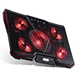 RooLee Refroidisseur Pour Ordinateur Portable Refroidisseur PC Portable 12-17'' /5 Ventilateurs Support Ventilé/2 USB Ports/7 Niveaux de Hauteur Réglable