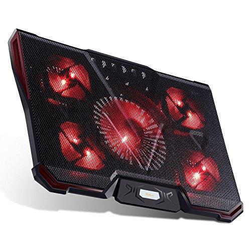 Laptop Lüfter RooLee 12-17 Zoll Laptop Kühler Notebook Cooler mit 5 Lüfter, 2 x USB und 7-stufige Höheeinstellung, leise