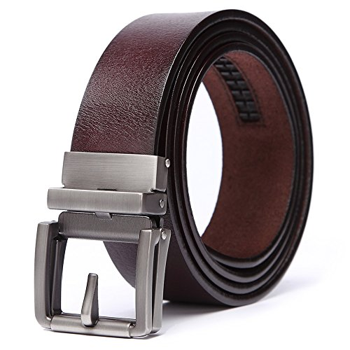 teemzone Leather Belt for Men Belt Dress with Automatic Buckle 35mm Width (125cm Waist: 36'-44 ', Brown)