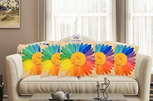 Czar Home Jute Floral Digital Print 3D Cushion Cover 16x16 Set of...