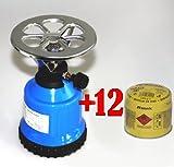 Picknickkocher + 12x190g Butan Gaskartuschen Campingkocher Butangas Gas Campingkocher
