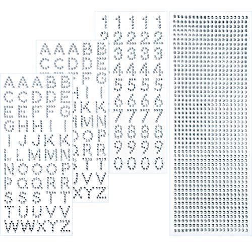 on Set Funkeln Alphabet Brief Aufkleber und Edelstein Grenze Aufkleber für Graduierung Deckel und Andere Kunsthandwerk (Silber) ()