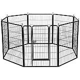 Yahee Welpenlaufstall Welpenfreigehege Tierlaufstall Laufstall Zaun Gitter mit Tür, 8 eckig, je Panel 80 x 100 cm