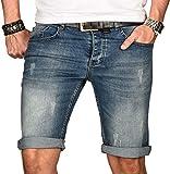 A. Salvarini Herren Designer Jeans Short Kurze Hose Slim Sommer Shorts Bermuda [AS-101-W31]