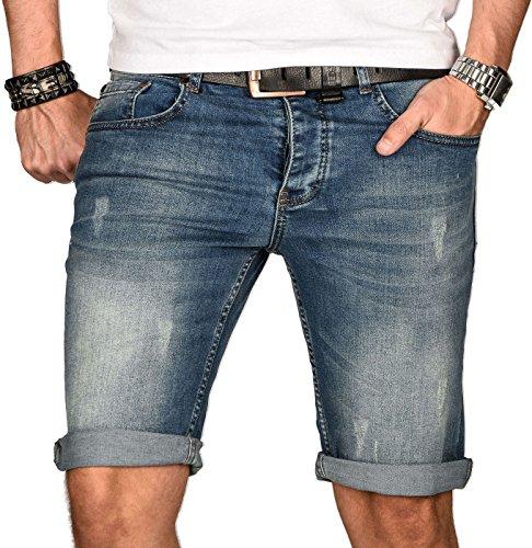 A. Salvarini Herren Designer Jeans Short Kurze Hose Slim Sommer Shorts Bermuda [AS-101-W29]