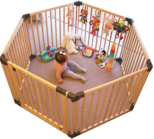 Safetots Play Pen Wooden All Sizes (Hexagon) Safetots This configuration is complete with 1x 80cm gate panel and 5x 80cm panels. Made from premium grade wood designed to compliment all home interiors. Extra Wide Door Section for Easy Access, with simple slide and lift opening mechanism. 2