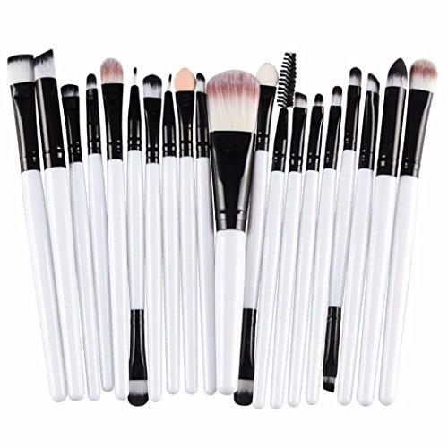 Internet 20 pcs maquillage outils Brush Set de maquillage Trousse de toilette laine maquillage Brush Set Blanc