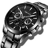 Herrenuhren Edelstahl Schwarz Klassische Luxus Business Casual Uhren mit Mondphase wasserdichte Multifunktions Quarz Armbanduhr für Herren (B)