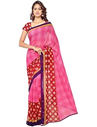 Anand Sarees Georgette Pink & Multi Colored Printed Saree With Blouse Piece (1115_3)