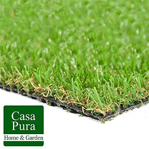 Gazon artificiel casa pura® Oxford | pelouse synthétique pour terrassse, balcon etc. | tailles au mètre | poids 1800g/m² - stabilisé UV selon DIN 53387 |