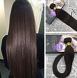 Moresoo 24Zoll/60cm 100% Remy Echthaar Tressen Brasilianisches Haar Weaving Virgin Human Hair Extensions Glatt Dunkelbraun #2 100gramm