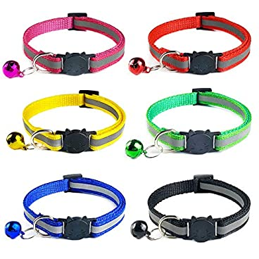 YHmall 6 PACK Reflective Cat Collars Safety Quick Release with Bell- Adjustable 19-32cm (C1)