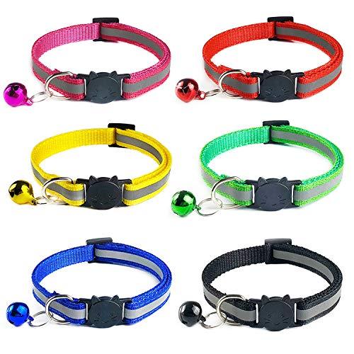 YHmall 6 Stück Katzenhalsband Reflektierendes Nylon mit sicherheitsverschluss und Glocke, Verstellbar 20-30 cm, Coole Halsbänder für Hauskatzen, Kleine Hunde MEHRWEG