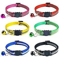 YHmall 6er Reflektierendes Nylon Katzenhalsband, mit Glocke und Schnalle, Verstellbar 20–30 cm, Coole Halsbänder für Hauskatzen, Kleine Hunde MEHRWEG