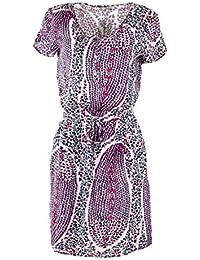 Best Mountain Robe à Manches Courtes col V et Zip imprimés Femme ... d30466ea939