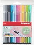 Feutre de dessin - STABILO Pen 68 - Pochette de 15 feutres pointe moyenne - Couleurs pastel