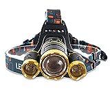 Power King linterna frontal LED, 6000lúmenes 4modos impermeable faro recargable, linterna para ciclismo, caza, correr, pasear al perro, Camping, Senderismo, Pesca, lectura y DIY de noche trabaja