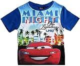 Cars Disney 3 T-Shirt Kurz Lightning McQueen Jungen (Blau, 104)