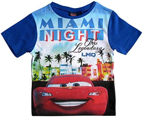 Cars Disney 3 T-Shirt Kurz Lightning McQueen Jungen (Blau, 98)