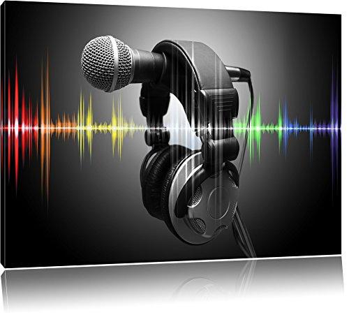 Mikrofon mit Kopfhörern auf Mikrofonständer schwarz/weiß Format: 120x80 auf Leinwand, XXL riesige Bilder fertig gerahmt mit Keilrahmen, Kunstdruck auf Wandbild mit Rahmen, günstiger als Gemälde oder Ölbild, kein Poster oder Plakat