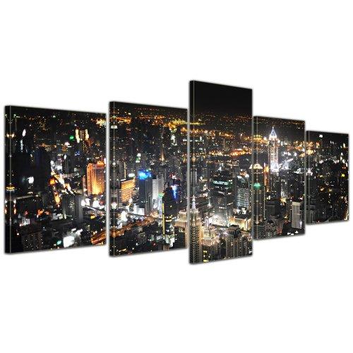 Kunstdruck - Bangkok at Night - Bild auf Leinwand - 200x80 cm 5 teilig - Leinwandbilder - Bilder als Leinwanddruck - Städte & Kulturen - Asien - Skyline von Bangkok