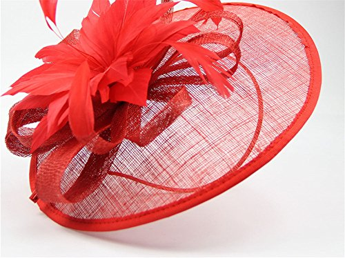 ZYCC Pince à Cheveux Feather Fleur Chapeau Fascinator Cocktail Chapeau Fête De Mariage Rouge