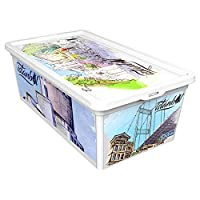 QUTU TrendBox Istanbul Culture-1 Storage Box - White, H 19 cm x W 11.5 cm x D 33.5 cm