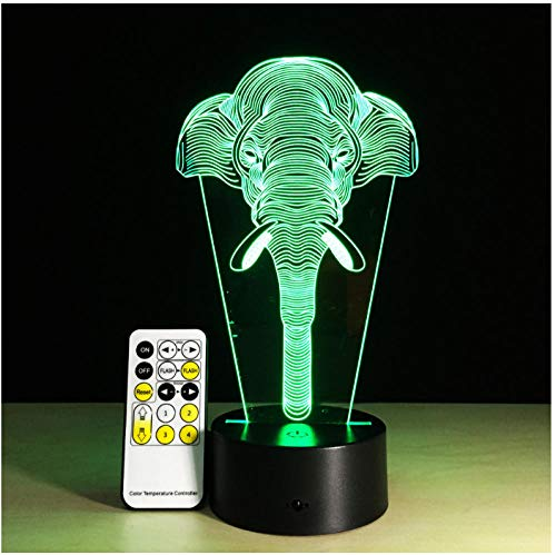 Elefant 3D Illusion Kinder Schlafatmosphäre Licht bunte LED Lampe Baby Spielzeug Geburtstag Weihnachtsgeschenk USB Touch oder Fernbedienung Festival