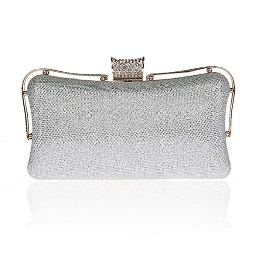 KAXIDY Damen Clutches Handtasche Clutch Schultertasche Abendtasche Silber