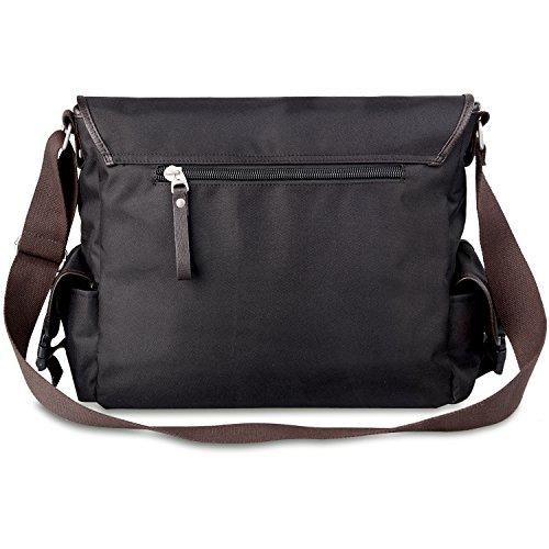 AB Earth Vintage Leather bag della tela di nylon scuola del messaggero della cartella del sacchetto, M707 Nero