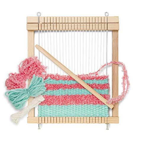 Micki Holz Kinder-Webrahmen, fertig gespannt, 1x Webschiffchen, 10 Meter extra Kettgarn, 2x Wolle je 5 Meter - Webbreite: 14 cm - BxLxH: 3x18,7x21,7 cm - ab 3 Jahre
