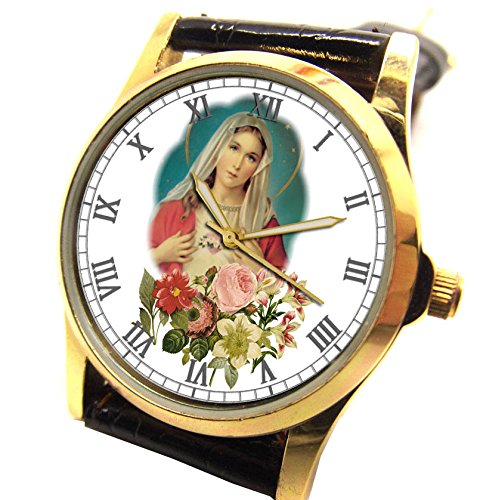 beautiful-virgin-mary-vintage-church-art-madonna-of-the-roses-collectible-wrist-watch